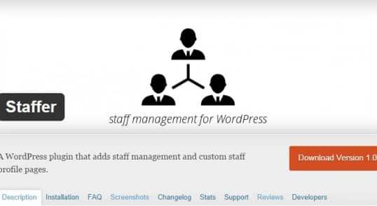 Staffer est un plugin WordPress traduit en français par www.wp-traduction.com qui vous permet de présenter votre équipe.