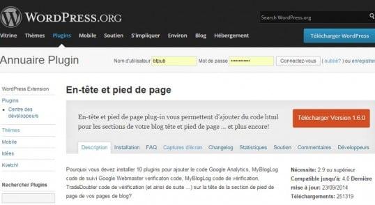 Téléchargez gratuitement la traduction en français du plugin WordPress Header and Footer